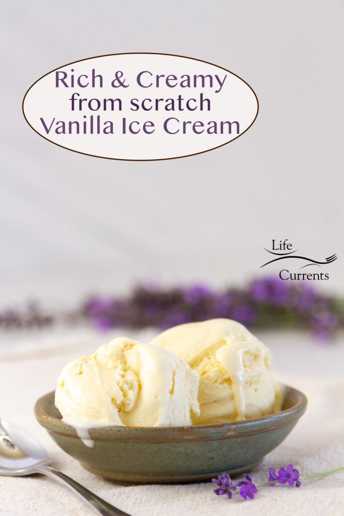 a dish of vanilla ice cream with lavender flowers in the background, title on image.