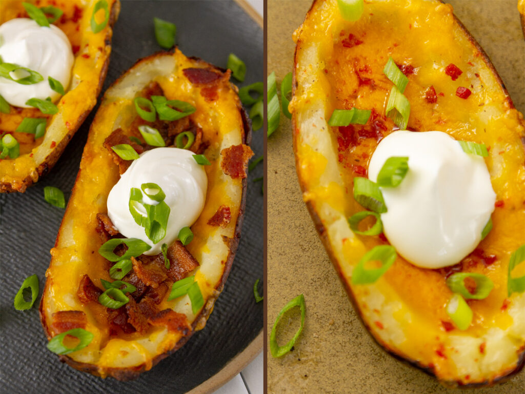 """potato skins filled with bacon on the left and with """"bacos"""" on the right"""