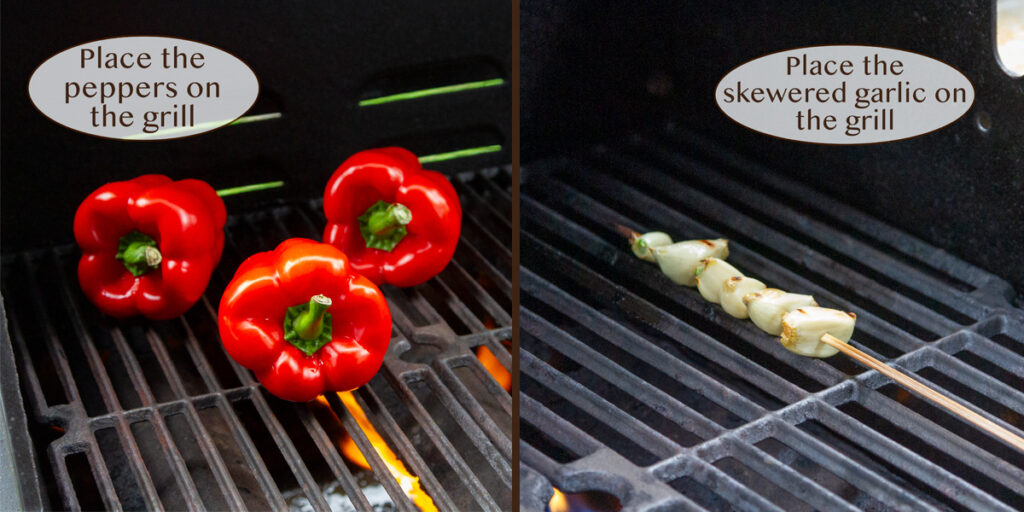 grilling the peppers and garlic.