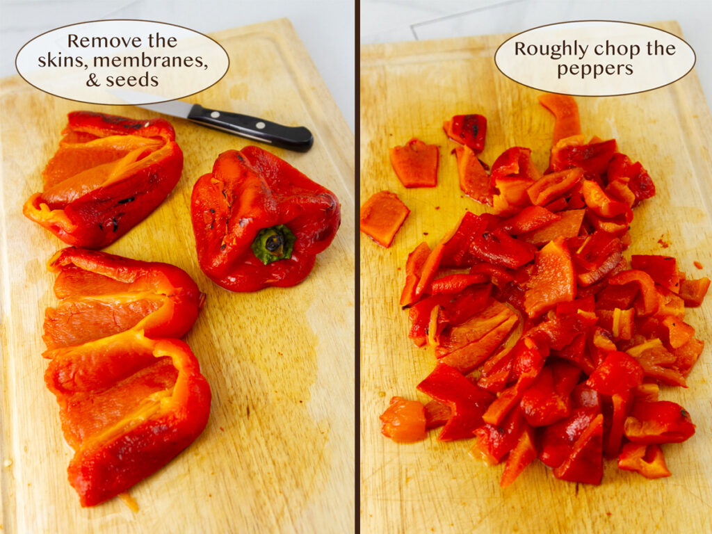 the skins have been removed from the peppers and they have been chopped.