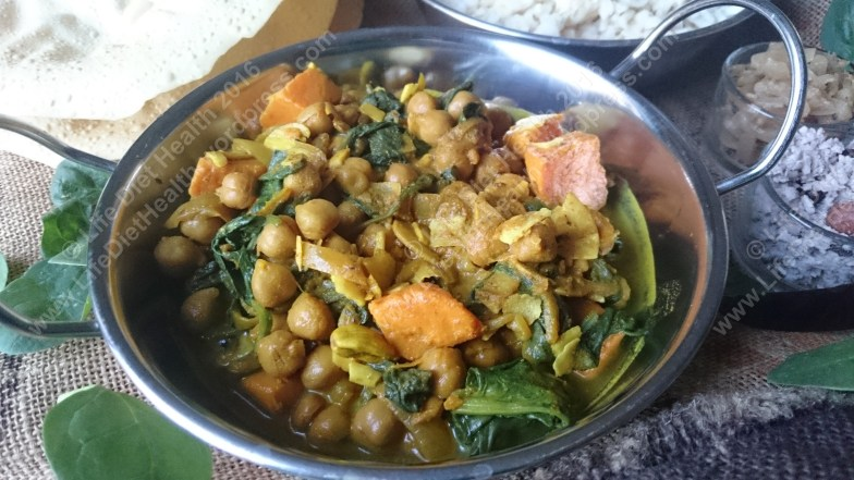 Chickpea, sweet potato and spinach curry.