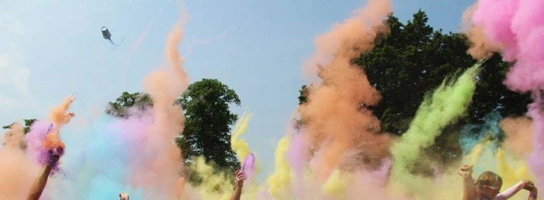 Colour party - lots of paint being thrown, all in the aid of charity.