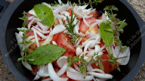 Fresh tomatoes & herbs ready to cook