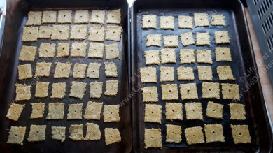 Space the crackers out on your baking trays