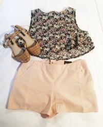 Vintage floral crop top, £12, pink shorts, £18, both ASOS, brown sandals, £18, Zara