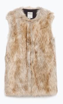 Long Furry Waistcoat £39.99 Zara