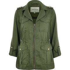 Khaki Zip-Up Military Jacket, £55 River Island