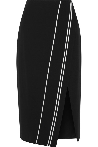 Wrap-effect satin-trimmed cady skirt £270