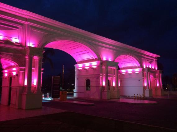 """Com campanha de conscientização e pórtico iluminado, Pontão engaja-se no """"Outubro Rosa"""""""