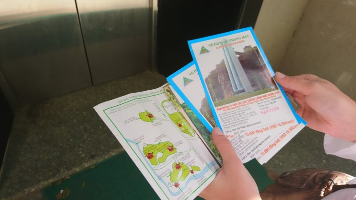 Entry tickets and a map to the Marble Mountains