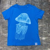children's barrel jellyfish T-shirt azure blue