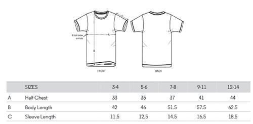 Childrens T-shirt sizes