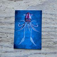 flying squid postcard