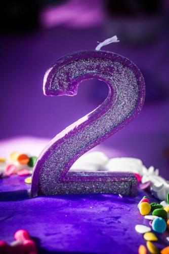 2nd birthday 2 candle purple cake