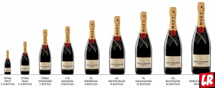 шампанское, размеры бутылок, моет и Шандон