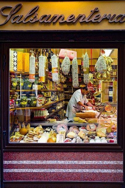 Рим, Италия, магазин, еда, колбаса, сыр