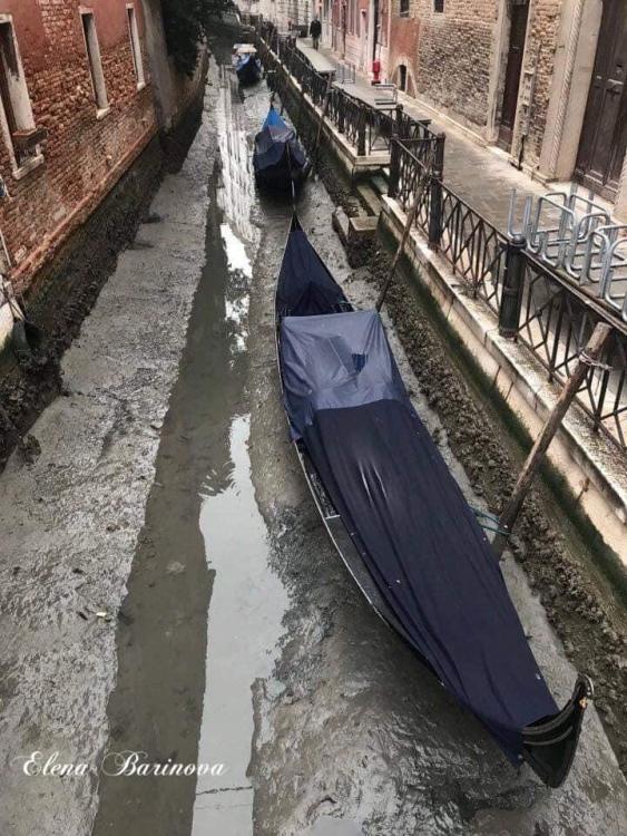 Каналы Венеции, низкая вода, гондола