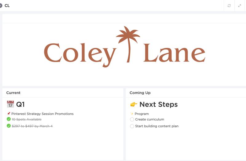 ClickUp Dashboard Example