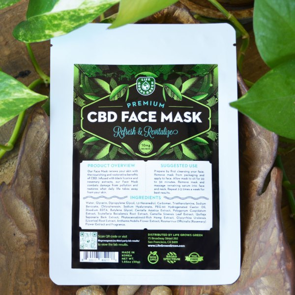 Life Grows Green CBD face mask for skin care.