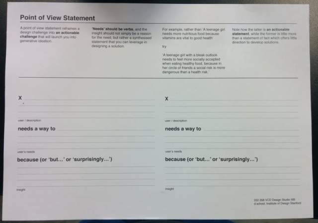 Point of View Statement Template