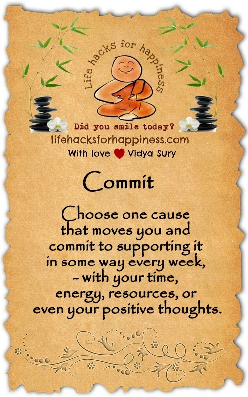 Commit. Vidya Sury Lifehacksforhappiness