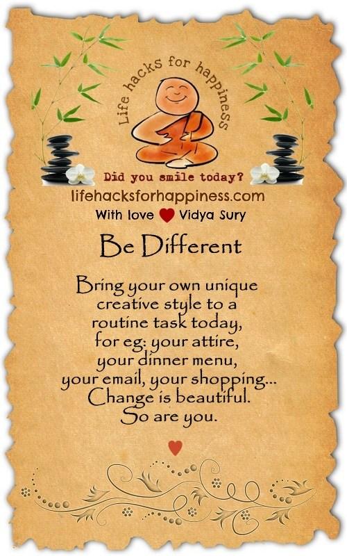 Be different Vidya Sury