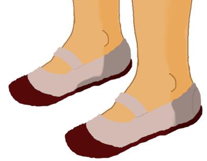 両方とも素足に上履きのイラスト