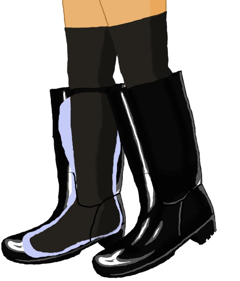 ニーハイソックスと黒長靴のイラスト