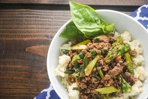 Thai Basil Ground Beef Bowl