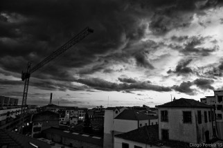 sky, sunset, black and white,