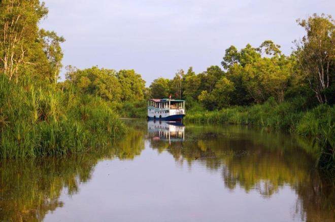 Klotok laivelys Borneo salos upėje