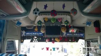 Inside the bus in Sumatra island