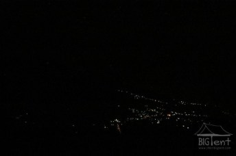 View at night from mount Merapi