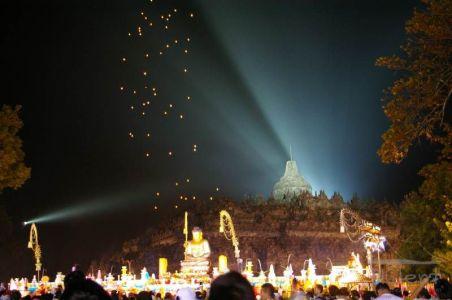 Lanterns in Borobudur on Vesak day