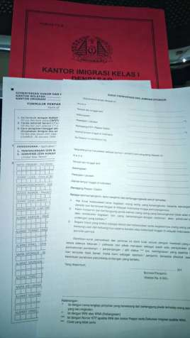 Visa in Bali - application forms
