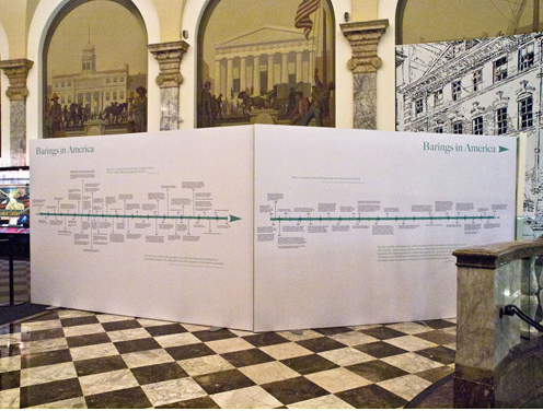 A giant timeline and historic arched backdrops, by highresolution  at the Museum of American Finance.