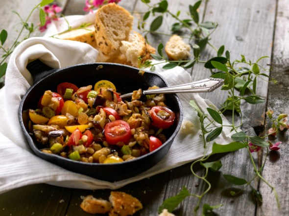An Italian summer dish  associated with Sicily, Caponata