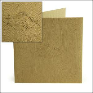 Brochure jacket for Spa Botánico with blind embossed logo on woodgrain textured cardstock