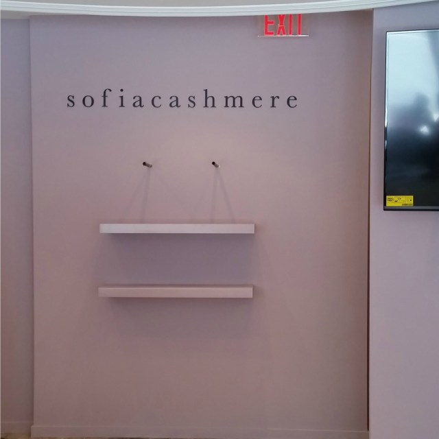 Sofia Ccashmere logo from water jet cut aluminum lettering with a black powder coat finish