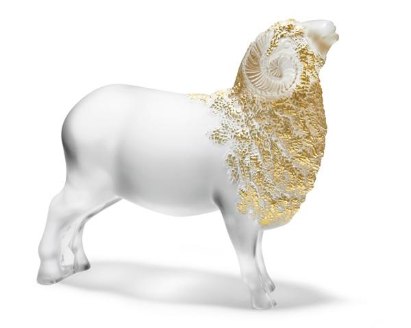 Belier - Sculpture GM tamponne or - fond blanc