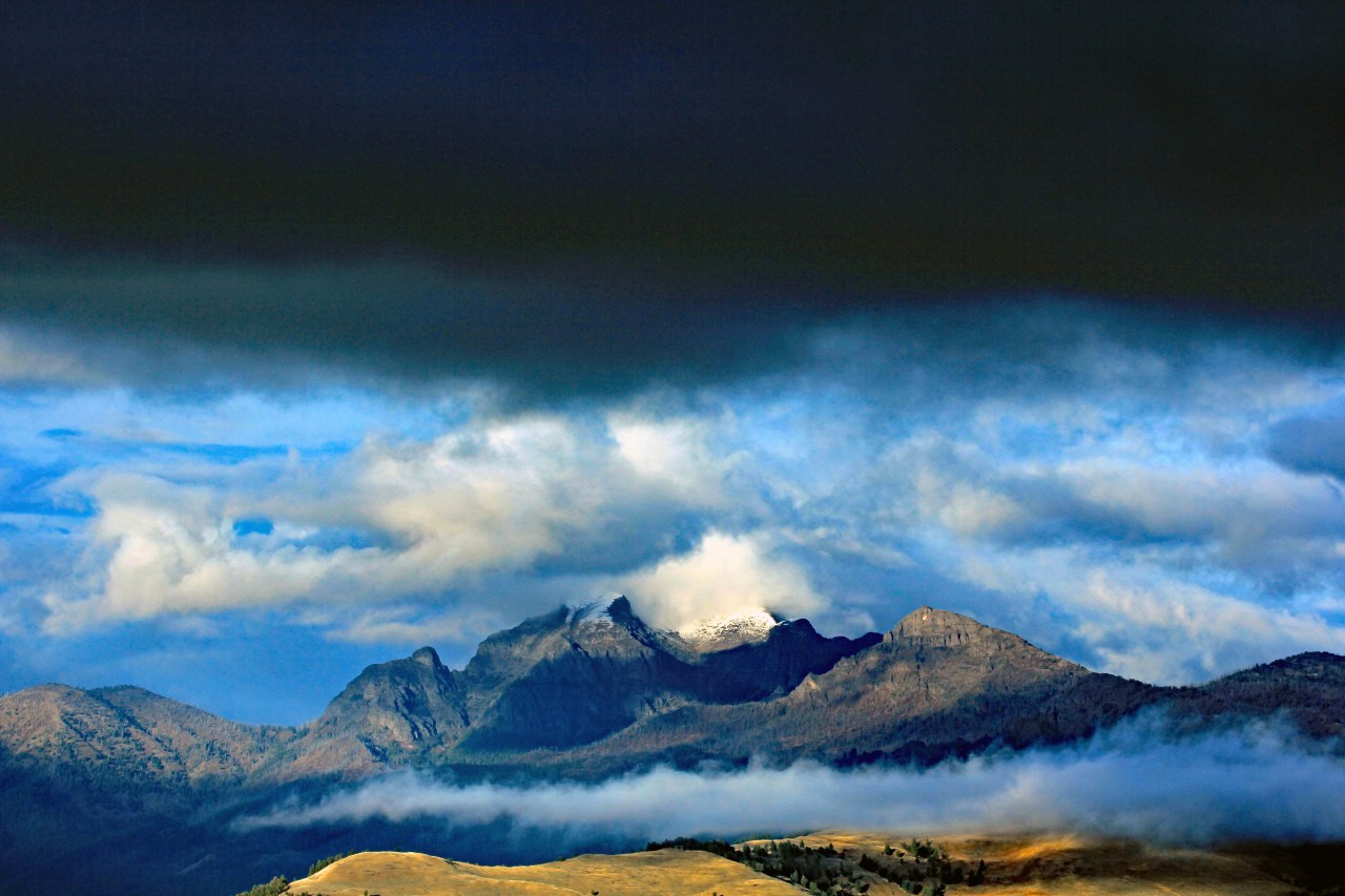 dark clouds mountains