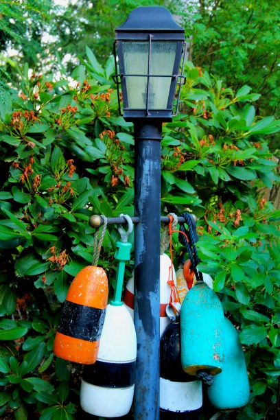 buoys on a lamp post
