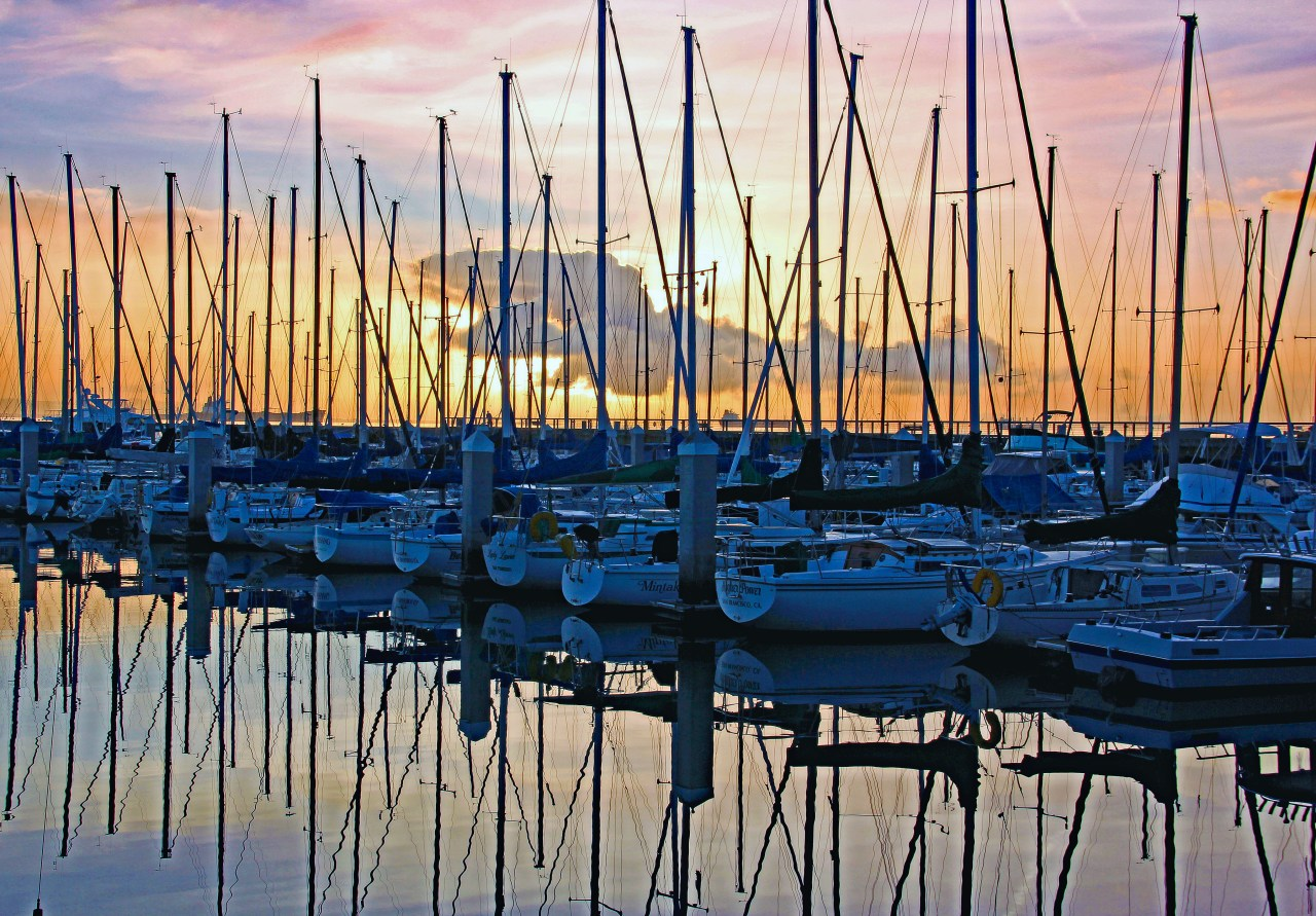 Sailboats Mission Bay Marina color edit