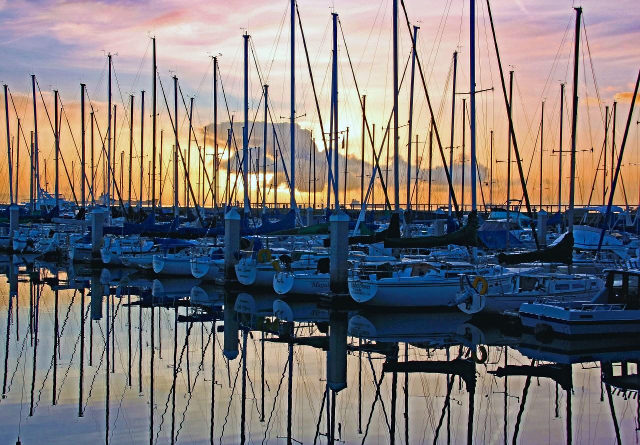 Sailboats Mission Bay Marina color edit