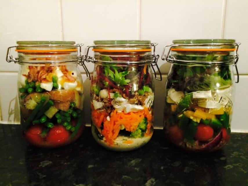 Three different salads in a jar! Easy, healthy and delicious meal prep ideas.