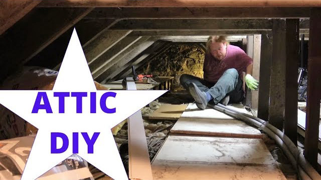 Tim working hard in our smaller attic, increasing the insulation and adding a new raised floor, using Loft Lifters.
