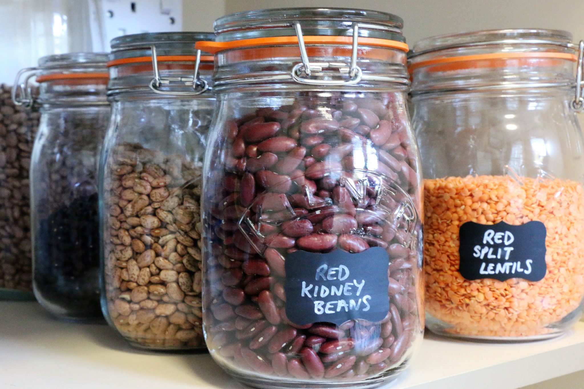 Kilner jars are great for storing dried goods such as beans.