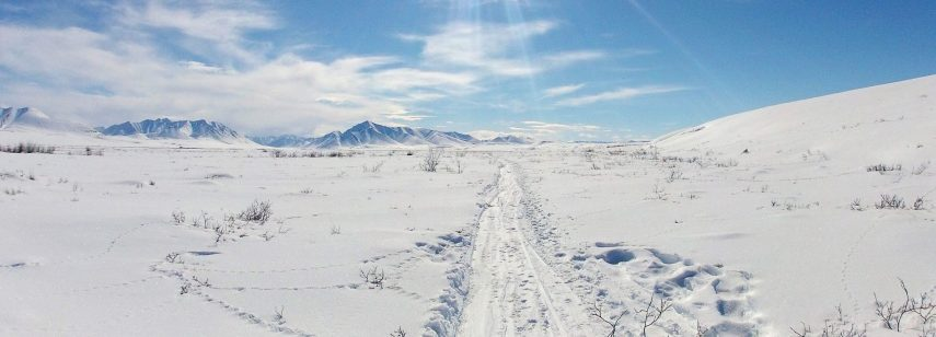 View of snowy Brooks Range mountains, North Slope, ANWR Arctic National Wildlife Refuge