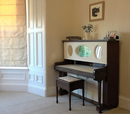 bespoke dressing table created from antique piano