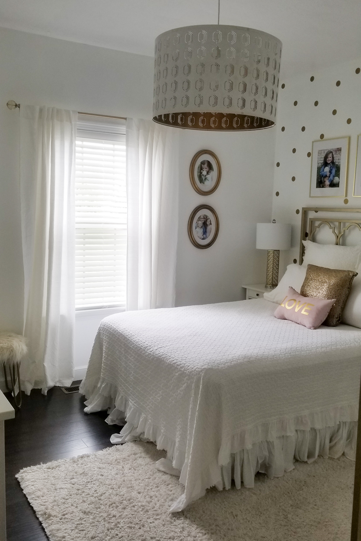 Girls white and gold room.